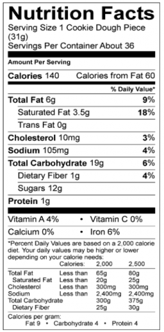 Chocolate Chip Cookie Nutritional