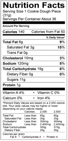 Butter Sugar Cookie Nutritional