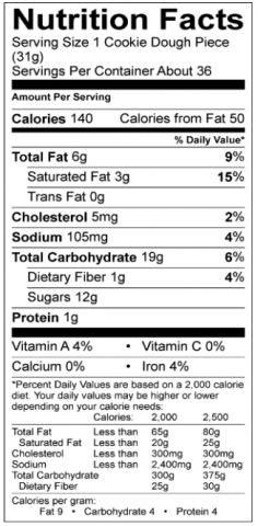 Carnival Cookie Nutritional Info