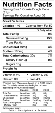 Strawberry Shortcake Cookie Nutritional