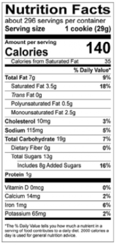 Double Chocolate Chip Cookie Nutritional