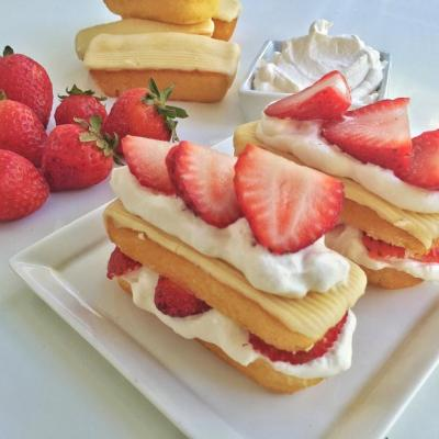 Frosted Golden Creme Cake Strawberry Shortcakes